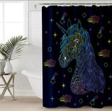 Scratch Drawing Unicorn Shower Curtain