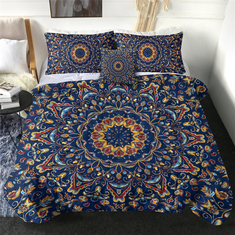 Blue, Yellow & Red Mandala Comforter Set