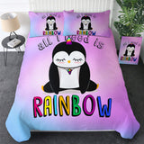 All I Need Is Rainbow Penguin Bedding Set