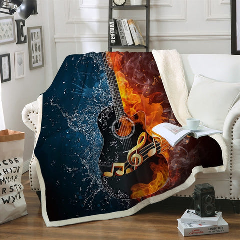 Water & Fire Guitar Throw Rug