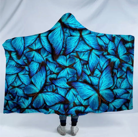 Blue Morpho Butterflies Hooded Blanket
