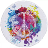 Peace With Butterflies Round Towel
