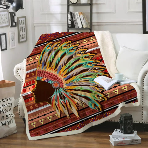 American Indian Head Piece Throw Rug