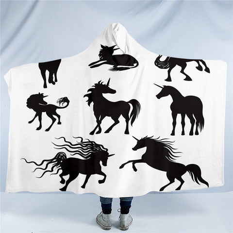 Black & White Unicorns Hooded Blanket