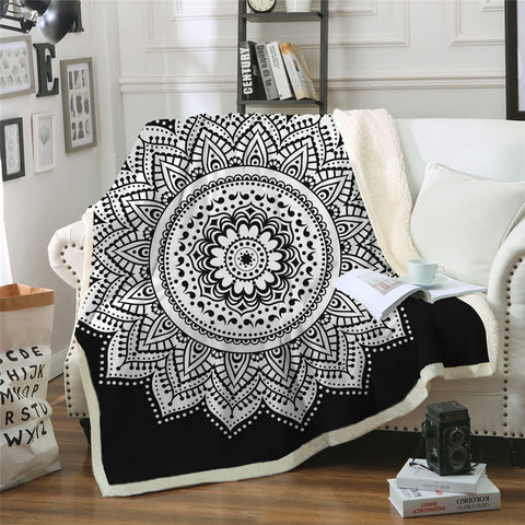 Black & White Mandala Flower Throw Rug