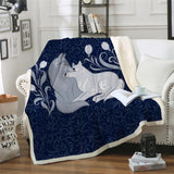 Grey Foxes (Blue) Throw Rug