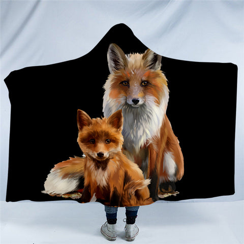 Fox & Cub Hooded Blanket