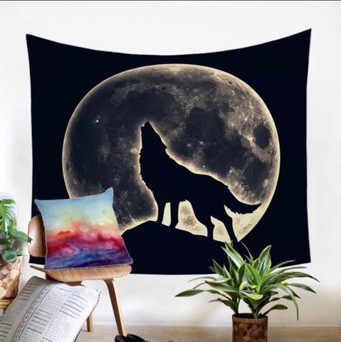 Wolf Howling At The Moon Wall Tapestry