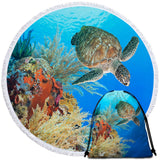 Turtle Swimming Near Coral Round Towel