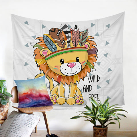 Cartoon Wild & Free Lion Wall Tapestry