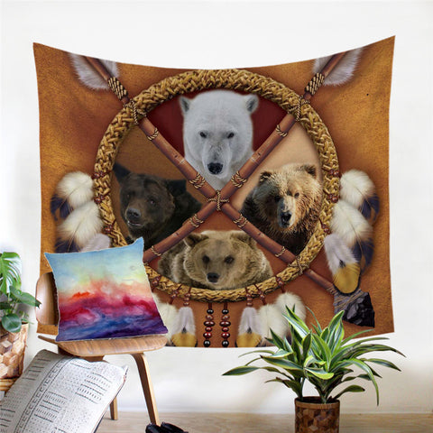 Bears Dreamcatcher Wall Tapestry
