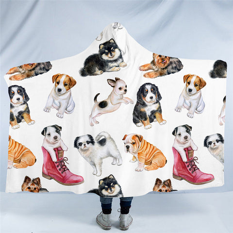 Various Puppies Hooded Blanket