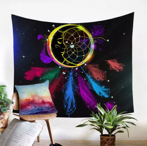 Moon Dreamcatcher With Feathers Wall Tapestry