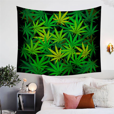 Green Maple Leaves Wall Tapestry