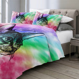 Inquisitive Cat Drawing (Rainbow) Bedding Set