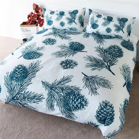 Green Pine Cones Bedding Set