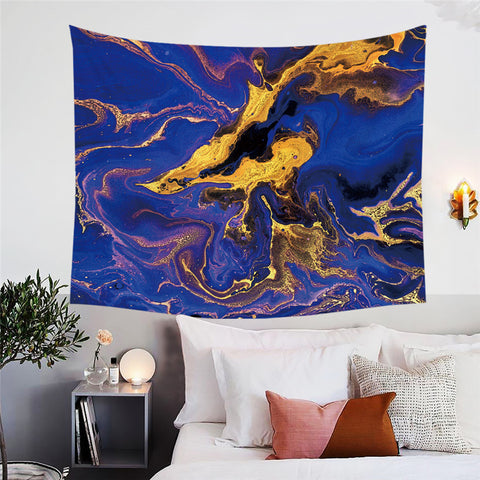 Gold & Royal Blue Marble Wall Tapestry