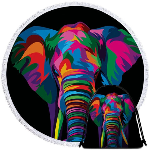 Spiritual Elephant By Weer Round Towel
