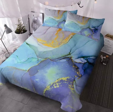 Purple, Light & Dark Blue Marble Bedding Set