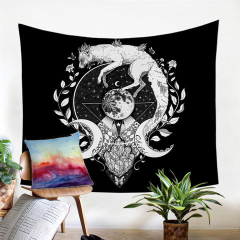 Moon Child (Black) By Pixie Cold Art Wall Tapestry