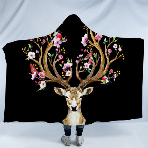 Birds & The Elk (Black) Hooded Blanket
