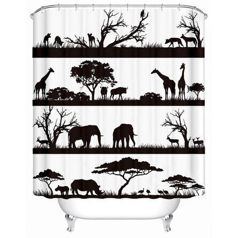 Black & White African Savanna Shower Curtain