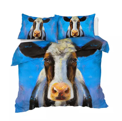 Acrylic Painting Cow (Blue) Bedding Set