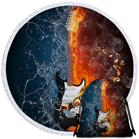 Fire & Water Guitar Round Towel