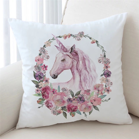 Unicorn With Floral Wreath Cushion Cover