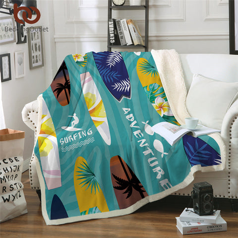 Surfing Adventure Throw Rug