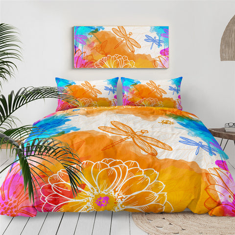 Orange & Blues Splash Dragonflies Bedding Set