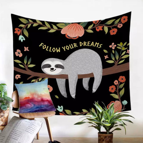 Follow Your Dreams Sloth Wall Tapestry