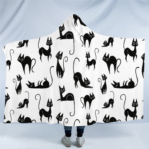 Cartoon Black Cat Poses Hooded Blanket