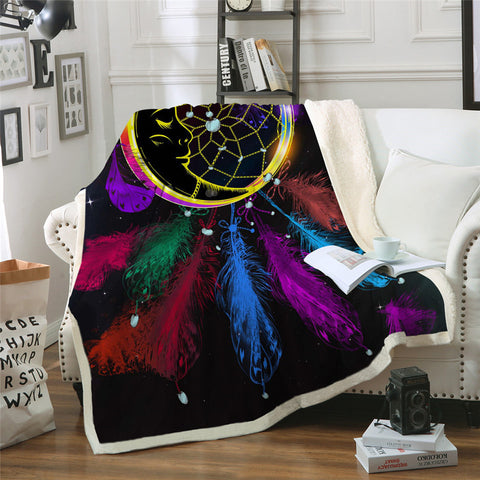Moon Dreamcatcher With Feathers Throw Rug