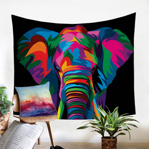 Spiritual Elephant By Weer Wall Tapestry