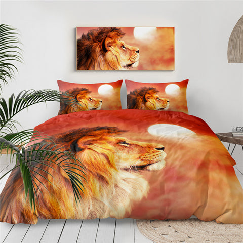 Lion Watching The Sun Bedding Set