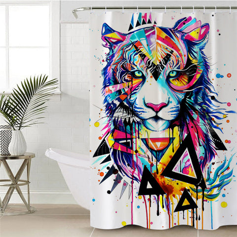 Shattered Tiger By Pixie Cold Art Shower Curtain