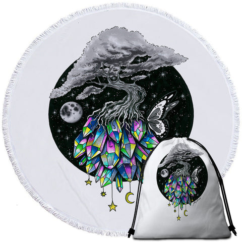 Crystal Tree By Pixie Cold Art Round Towel