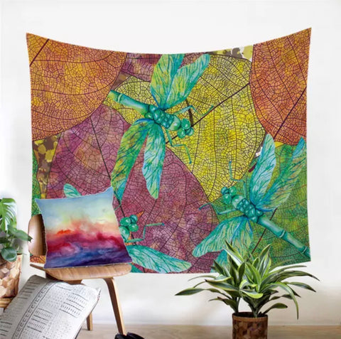 Three Dragonflies Wall Tapestry