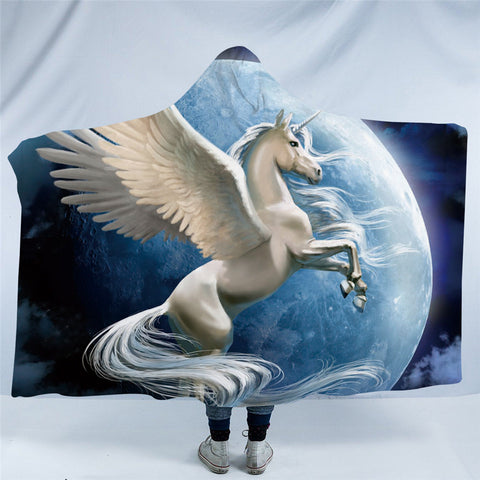 White Pegasus In Front Of Moon Hooded Blanket