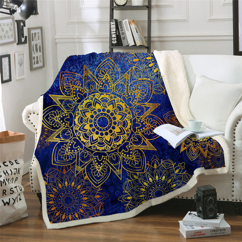 Blue & Gold Flower Mandalas Throw Rug