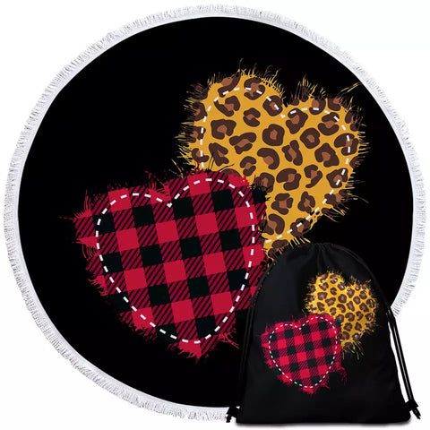 Patterned Hearts Round Towel