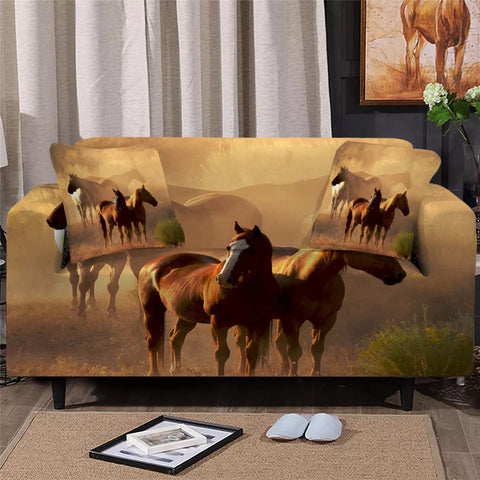 Horses In The Dust Sofa Cover