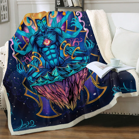Meditating God Flyland by Ismot Esha Throw Rug