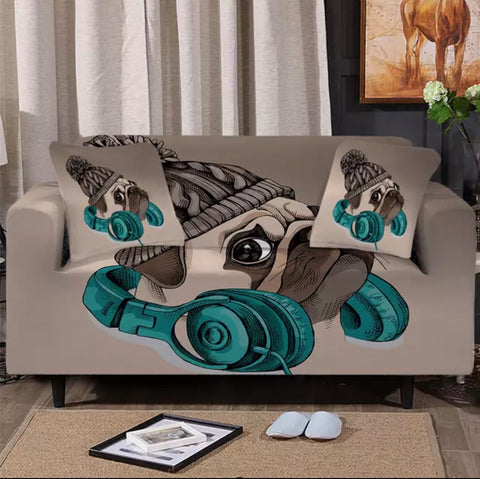 Headphones & Bennie Pug Sofa Cover