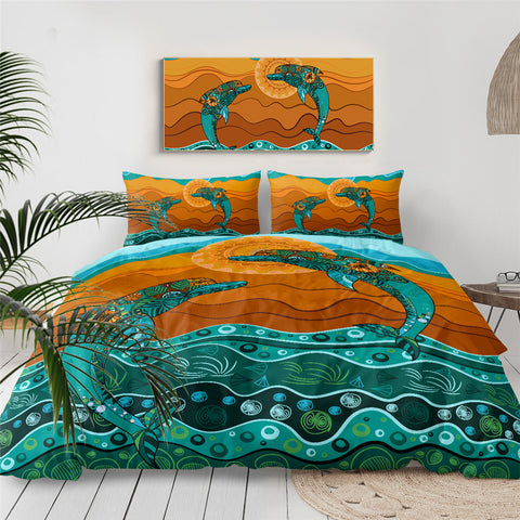 Two Mandala Dolphins Bedding Set