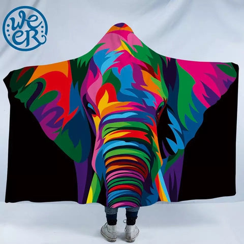 Spiritual Elephant By Weer Hooded Blanket
