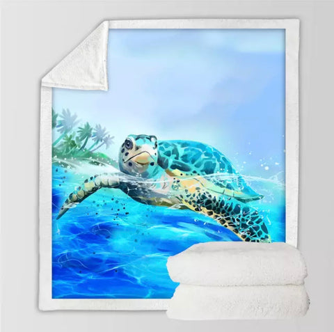 Turtle Swimming On The Surface Of Ocean Throw Rug