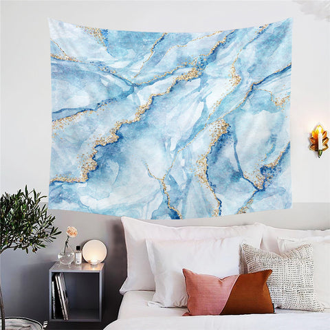 Blue & Gold Marble Wall Tapestry