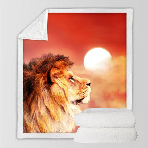 Lion Watching The Sunset Throw Rug